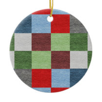 Colorful Fabric Style Squares Pattern Ceramic Ornament