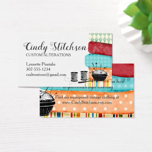 Colorful fabrics sewing quilting business card