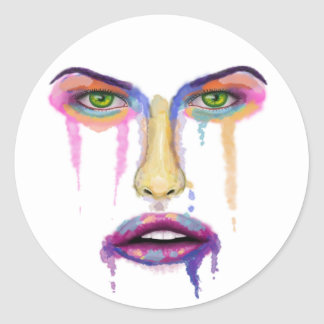 Colorful Face Dripping - Contemporary Art Round Stickers