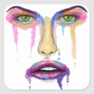 Colorful Face Dripping - Contemporary Art Square Sticker