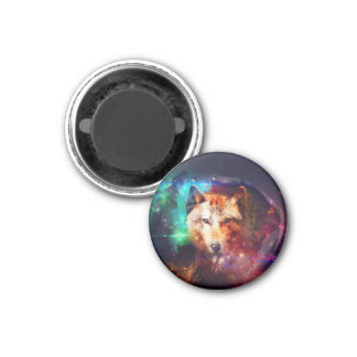 Colorful face wolf 1 inch round magnet