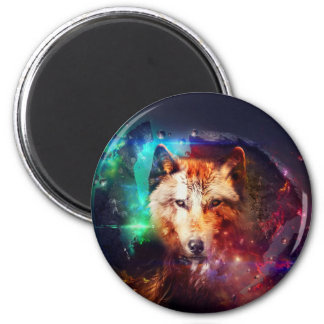 Colorful face wolf 2 inch round magnet