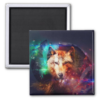 Colorful face wolf 2 inch square magnet