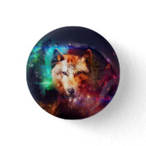 Colorful face wolf button