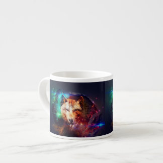 Colorful face wolf espresso cup
