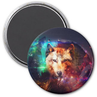 Colorful face wolf magnet