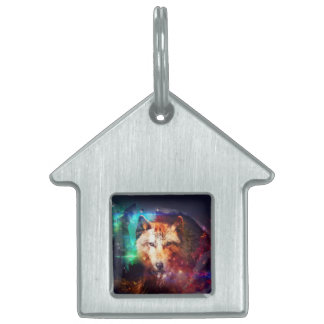 Colorfulface wolf pet name tag
