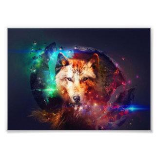 Colorfulface wolf photo print