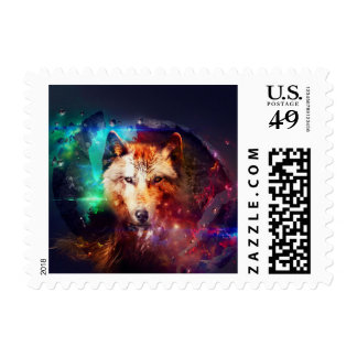 Colorfulface wolf postage stamp