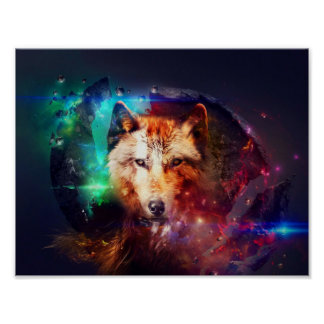 Colorfulface wolf poster