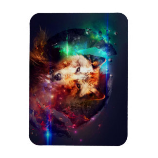 Colorful face wolf rectangular photo magnet