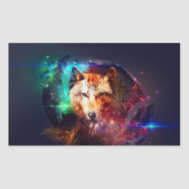 Colorful face wolf rectangular sticker