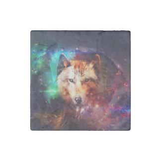 Colorful face wolf stone magnet