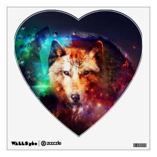 Colorfulface wolf wall sticker