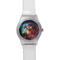Colorful face wolf wristwatch