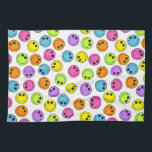 "Colorful Faces Kitchen Towel<br><div class=""desc"">These orange,  pink,  purple,  green,  blue,  and yellow faces will brighten any decor.</div>"