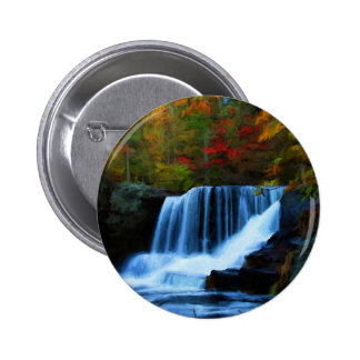 Colorful Factory Falls in Pennsylvania Painting Button