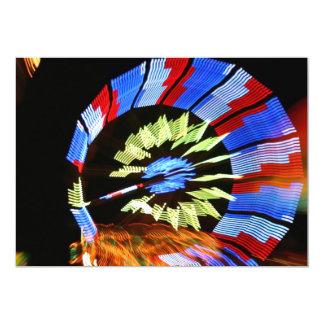 Colorful fair ride design, neon colors on black #1 5x7 paper invitation card