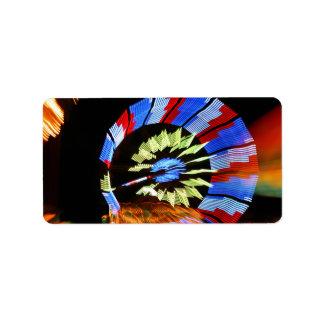 Colorful fair ride design, neon colors on black #1 address label