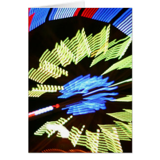 Colorful fair ride design, neon colors on black #1 greeting card
