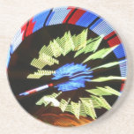 Colorful fair ride design, neon colors on black #1 coasters