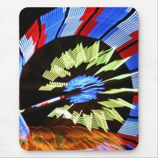 Colorful fair ride design, neon colors on black #1 mouse pad