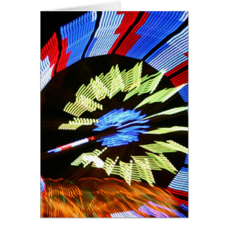 Colorful fair ride design, neon colors on black #1 stationery note card