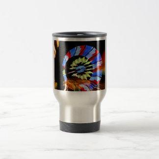 Colorful fair ride design, neon colors on black #1 travel mug