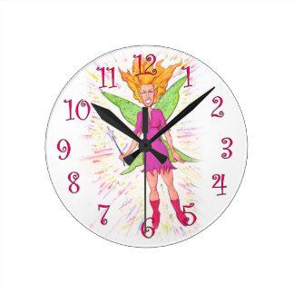 Colorful Fairy Round Clock