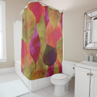Colorful Fall Autumn Leaves shower Curtain