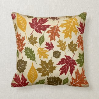 Colorful Fall Autumn Tree Leaves Pattern Throw Pillow