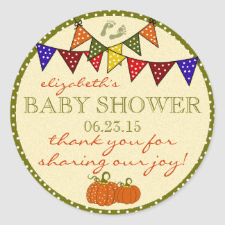 Colorful Fall Baby Shower Thank You Classic Round Sticker