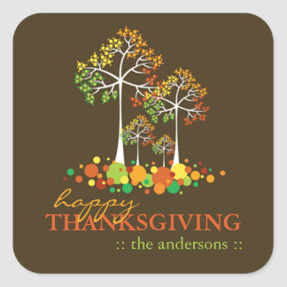 Colorful Fall Family Tree Thanksgiving Sticker