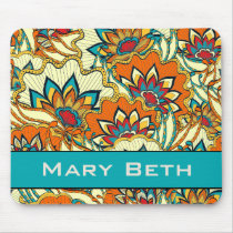 Colorful Fall Floral Personalized Mouse Pad