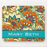 Colorful Fall Floral Personanlized Mouse Pad