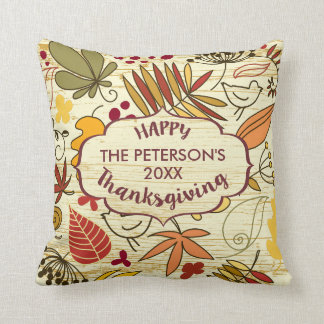 Colorful Fall Leafs Happy ThanksGiving Throw Pillow