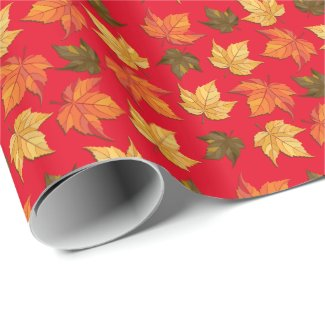 Colorful Fall Leafs On Red Background Wrapping Paper
