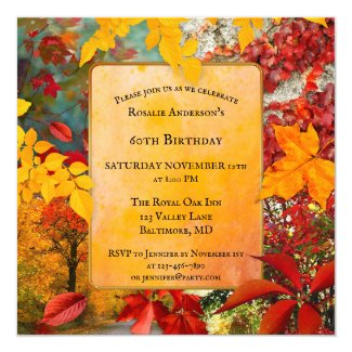 Colorful Fall Leaves Birthday or Retirement Invitation