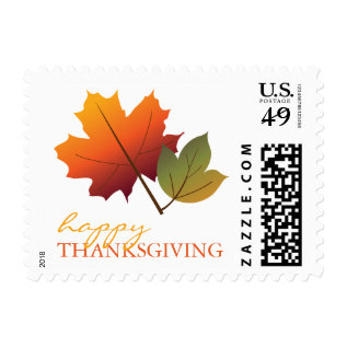 Colorful Fall Leaves Happy Thanksgiving Stamps at Zazzle