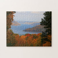 Colorful Fall Leaves Overlooking Casey Bridge Jigsaw Puzzle
