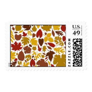 Colorful fall leaves postage