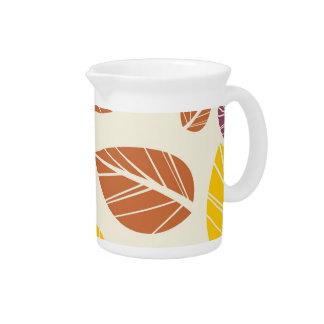 Colorful Fall Leaves Purple Maroon Yellow Green Drink Pitchers