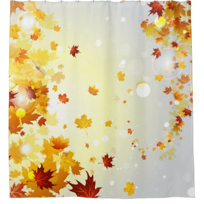 Great Retro Leaves Pattern Fall Colors Shower Curtain | Zazzle.com