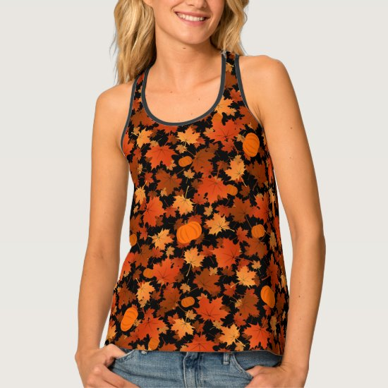 colorful fall maple leaves and pumpkins pattern tank top