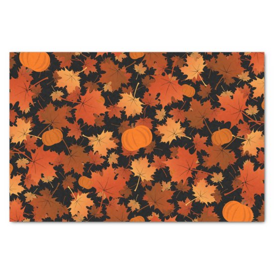 Colorful fall maple leaves and pumpkins pattern tissue paper