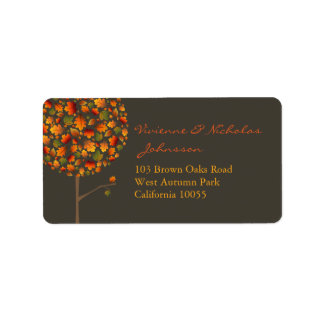 Colorful Fall Maple Leaves Pop Tree Address Labels