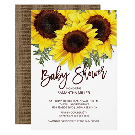 Colorful Fall Sunflowers Neutral Baby Shower Invitation Zazzle Com