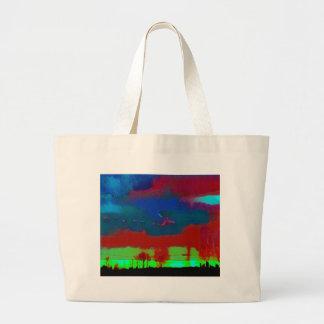 Colorful Fall Toned Abstract Horizon Sky Large Tote Bag