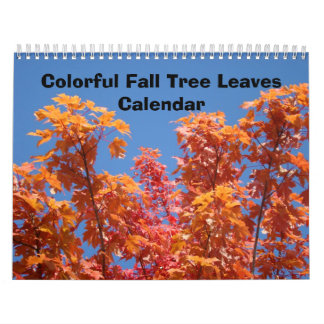 Colorful Fall Tree Leaves Calendars Blue Sky Art
