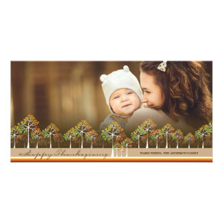 Colorful Fall Trees Rustic Thanksgiving Photo Card